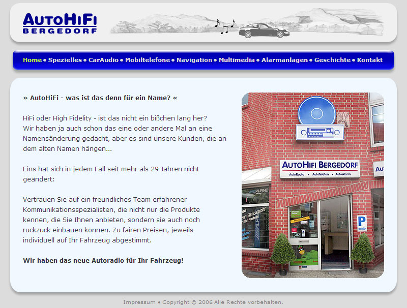 WebSite AutoHiFi-Bergedorf im November 2006