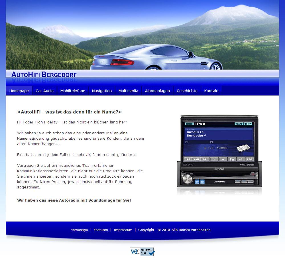 WebSite Web 2.0 AutoHiFi-Bergedorf im Januar 2010
