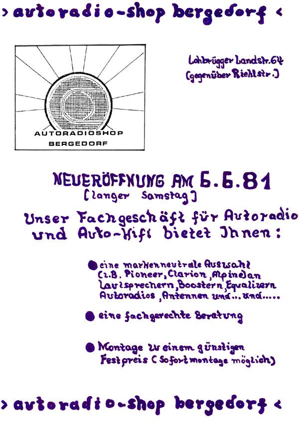 Eröffnung Autoradioshop-Bergedorf für Autoradios mit gutem Klang